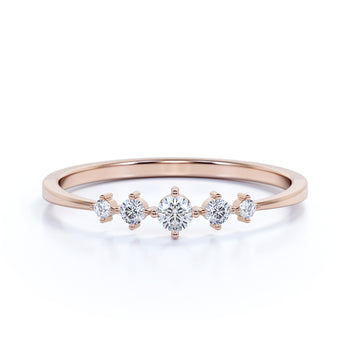 5 Stone Mini Stackable Wedding Ring Band with Round Cut Diamonds in Rose Gold