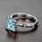 Perfect 1.25 Carat Princess cut Aquamarine and Diamond Engagement Ring in White Gold