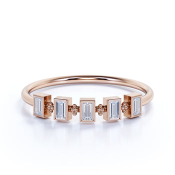 Unique 5 Stone Mini Stackable Wedding Ring Band with Emerald Cut Diamonds in Rose Gold