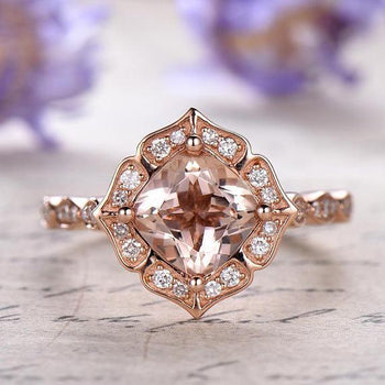 Perfect 1.50 Carat Cushion Cut Morganite and Diamond Engagement Ring in Rose Gold