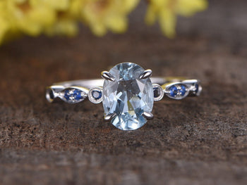 1.25 Carat Oval Cut Aquamarine and Sapphire Engagement Ring in White Gold