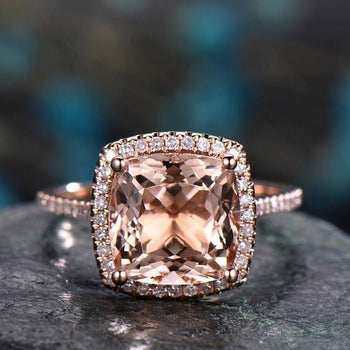 Bestselling 1.50 Carat Cushion Cut Morganite and Diamond Engagement Ring in Rose Gold
