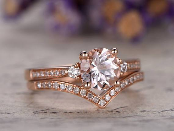 Perfect 1.50 Carat Three Stone Morganite and Diamond Wedding Ring Set in Rose Gold