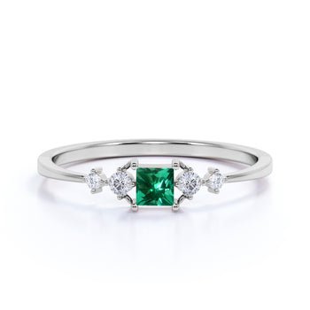 Charming Princess Cut Emerald and Diamond Stacking Wedding Ring in White Gold