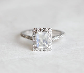 Pave 1.50 Carat Emerald Cut Rainbow Moonstone and Diamond Halo Engagement Ring in White Gold