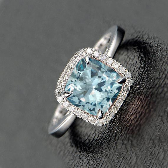 Bestselling 1.25 Carat Cushion Cut Aquamarine and Diamond Engagement Ring in White Gold