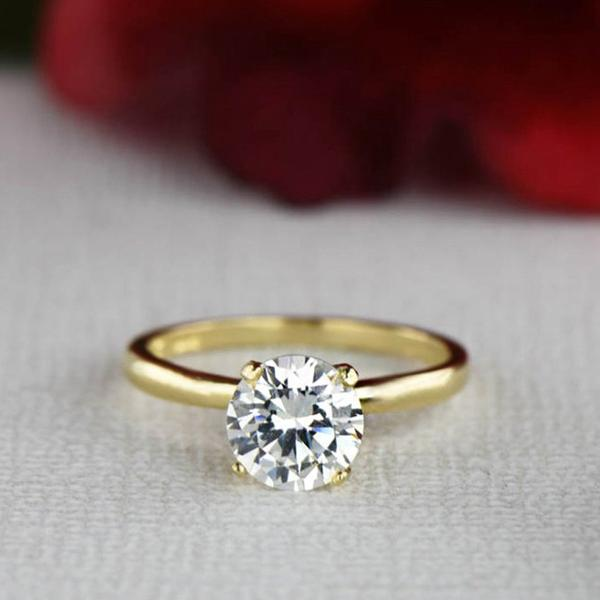 1.5 Carat Round Cut Solitaire Engagement Ring in Yellow Gold over Sterling Silver