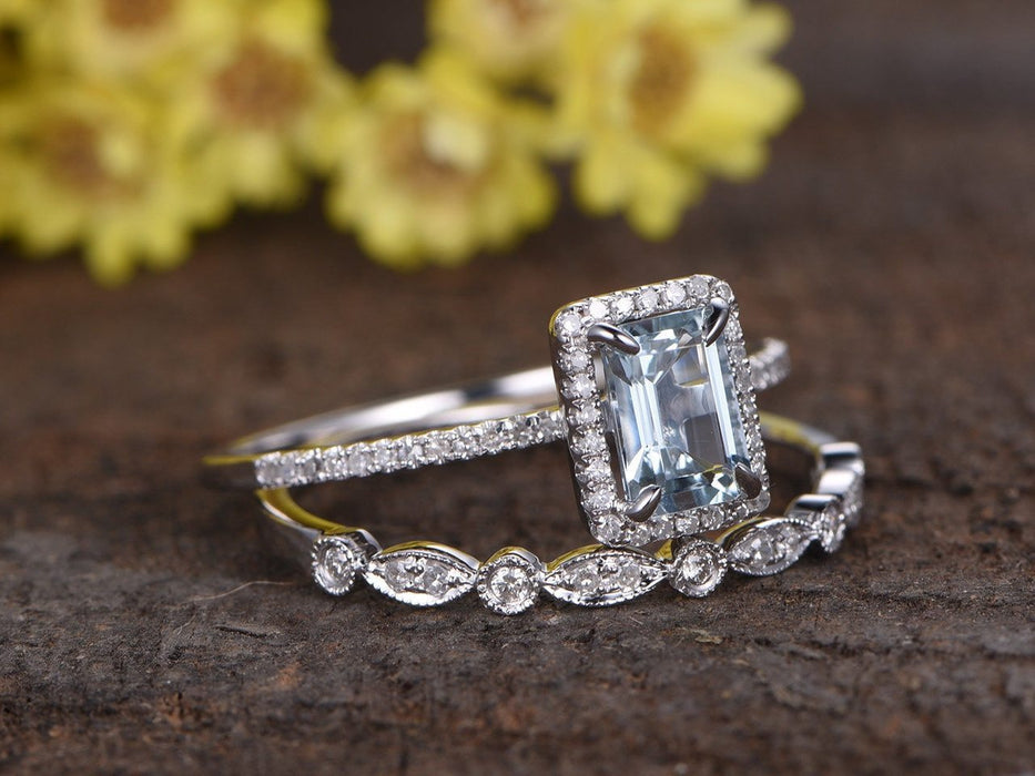 2 Carat Emerald Cut Aquamarine and Diamond Halo Wedding Ring Set in White Gold