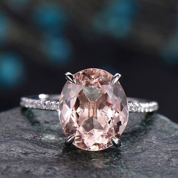 Huge 3 Carat Morganite and Diamond Engagement Ring in White Gold