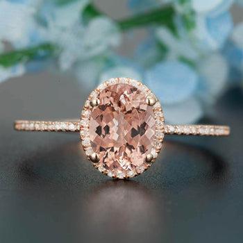 Elegant 1.25 Carat Oval Cut Peach Morganite and Diamond Engagement Ring in Rose Gold for Women