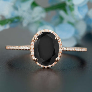 1.25 Carat Oval Cut Black Diamond and Diamond Engagement Ring in Rose Gold Dazzling Ring