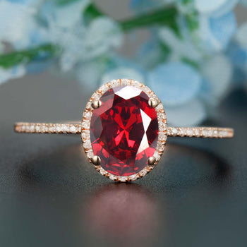 1.25 Carat Oval Cut Ruby and Diamond Engagement Ring in 9k Rose Gold Dazzling Ring