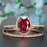 1.5 Carat Oval Cut Ruby and Diamond Wedding Ring Set in 9k Rose Gold Dazzling Ring