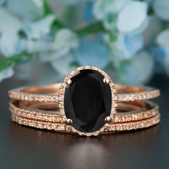 2 Carat Oval Cut Black Diamond and Diamond Trio Wedding Ring Set in Rose Gold Dazzling Ring