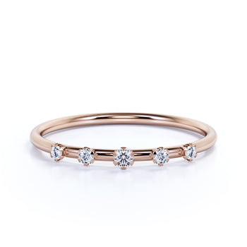 5 Stone Stacking Ring with Round Diamonds in Rose Gold