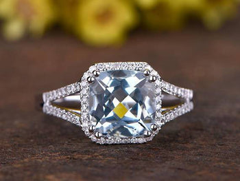 Perfect 1.50 Carat Princess Cut Aquamarine and Diamond Split Shank Engagement Ring in White Gold