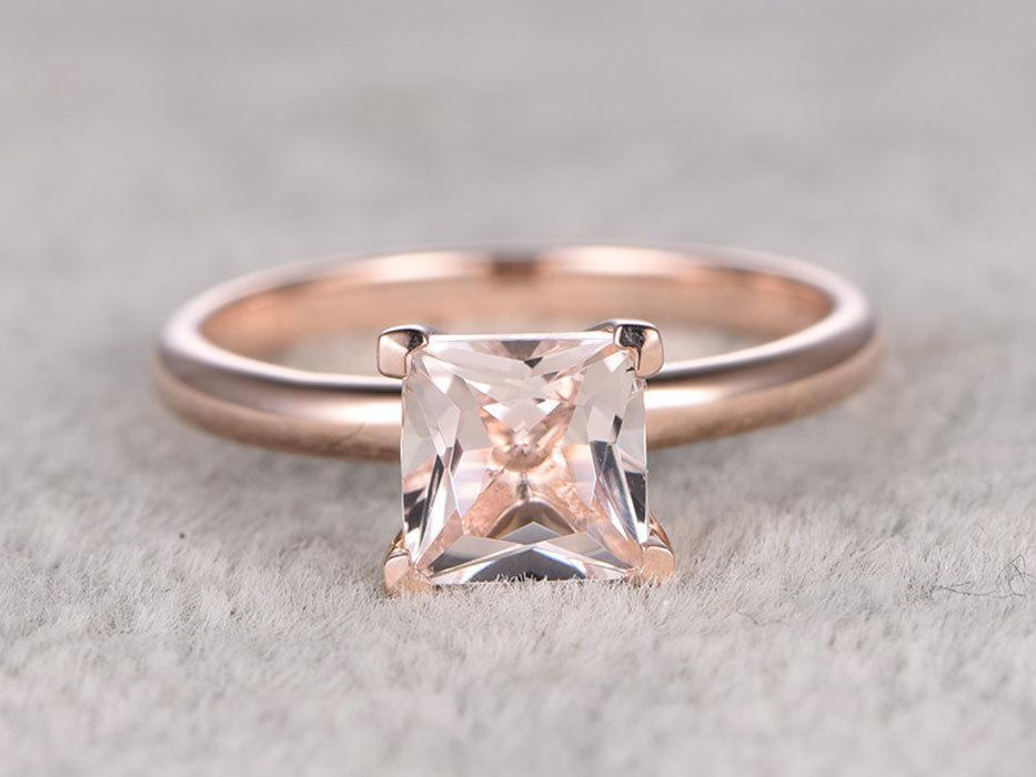 1 Carat Princess Cut Solitaire Morganite Engagement Ring in Rose Gold