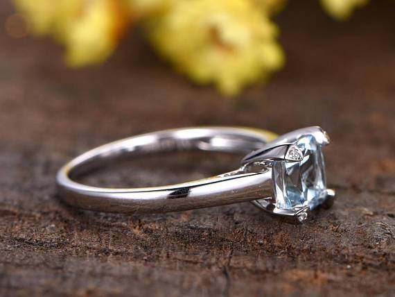 1 Carat Cushion Cut Solitaire Aquamarine Engagement Ring in White Gold