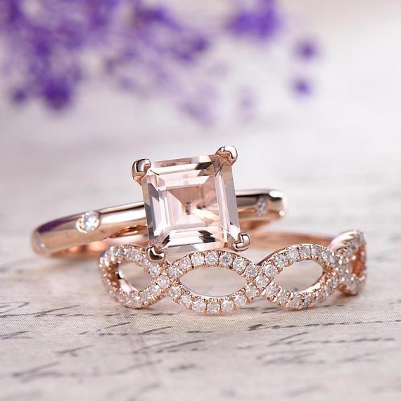 2 Carat Infinity Design Morganite and Diamond Bridal Ring Set in Rose Gold