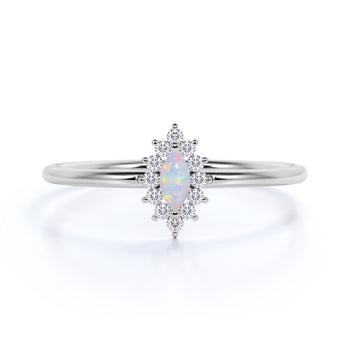 Classic Halo Set Marquise Cut Opal Stacking Ring in White Gold