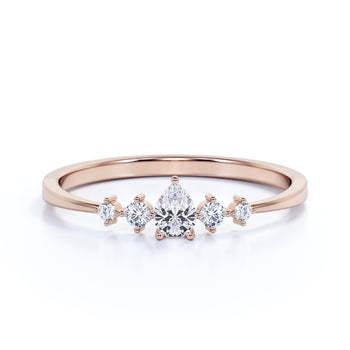 Charming Pear Cut Diamond Stacking Wedding Ring in Rose Gold