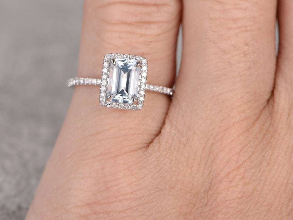 1.50 Carat Emerald Cut Aquamarine and Diamond Wedding Ring in White Gold