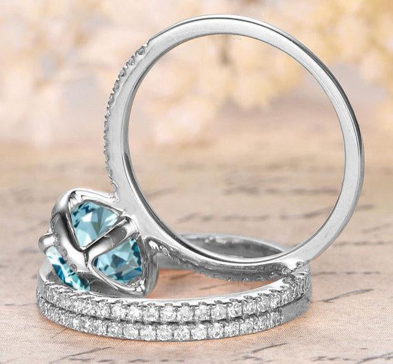 Perfect 2.25 Carat Oval Cut Aquamarine and Diamond Trio Halo Wedding Ring Set in White Gold
