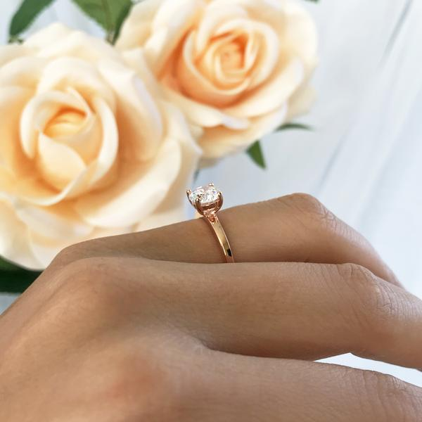1 Carat Round Cut Solitaire Stacking Style Engagement Ring in Rose Gold over Sterling Silver