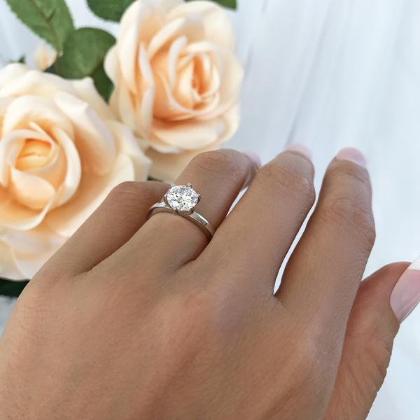 Six Prongs 1 Carat Round Cut Stacking Solitaire Engagement Ring in White Gold over Sterling Silver