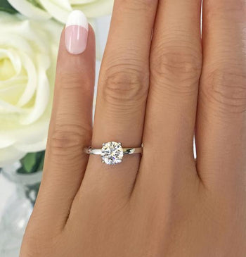 Four Prongs 1.5 Carat Round Cut Stacking Solitaire Engagement Ring in White Gold over Sterling Silver