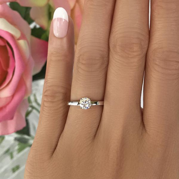 0.5 Carat Round Cut Stacking Solitaire Engagement Ring in White Gold over Sterling Silver