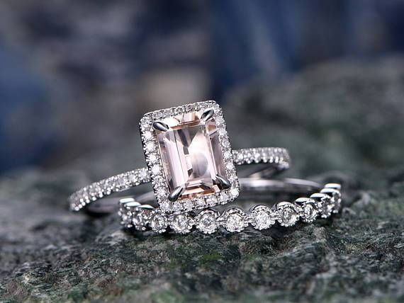 Antique 2 Carat Emerald Cut Morganite and Diamond Halo Bridal Ring Set in White Gold