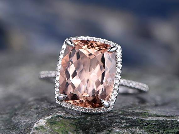 1.50 Carat Emerald Cut Morganite and Diamond Engagement Ring in White Gold