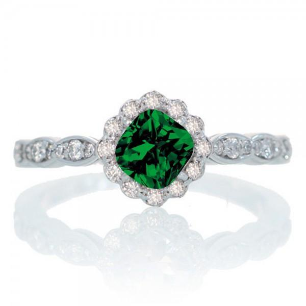 1.25 Carat Cushion Cut Classic Flower Design Antique Emerald and Diamond Engagement Ring