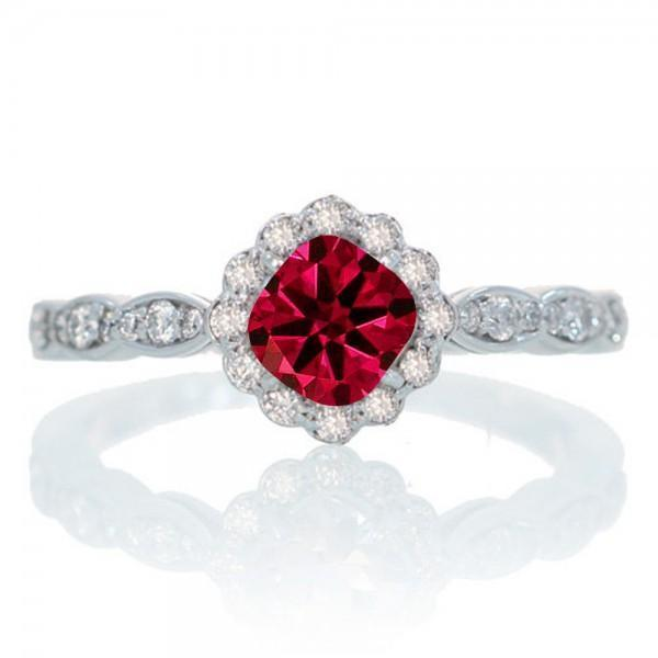 1.25 Carat Cushion Cut Classic Flower Design Antique Ruby and Diamond Engagement Ring