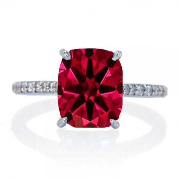 2.25 Carat Cushion Cut Ruby and Diamond Celebrity Engagement Ring