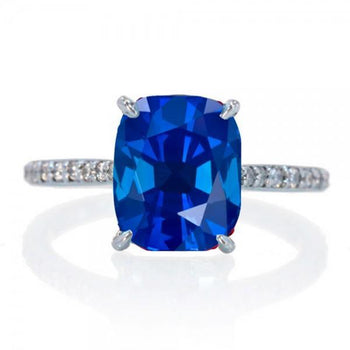 2.25 Carat Cushion Cut Sapphire and Diamond Celebrity Engagement Ring