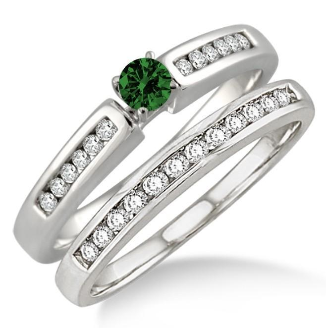 1.25 Carat Emerald & Diamond Affordable Bridal Set on White Gold