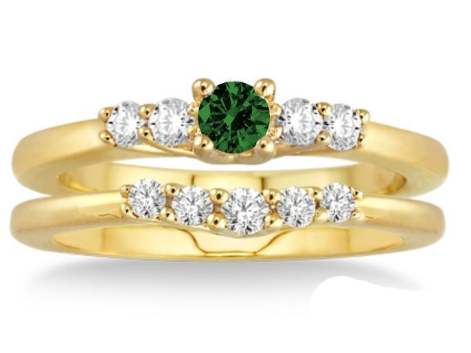 1.25 Carat Emerald & Diamond Affordable Bridal Set on 9k Yellow Gold