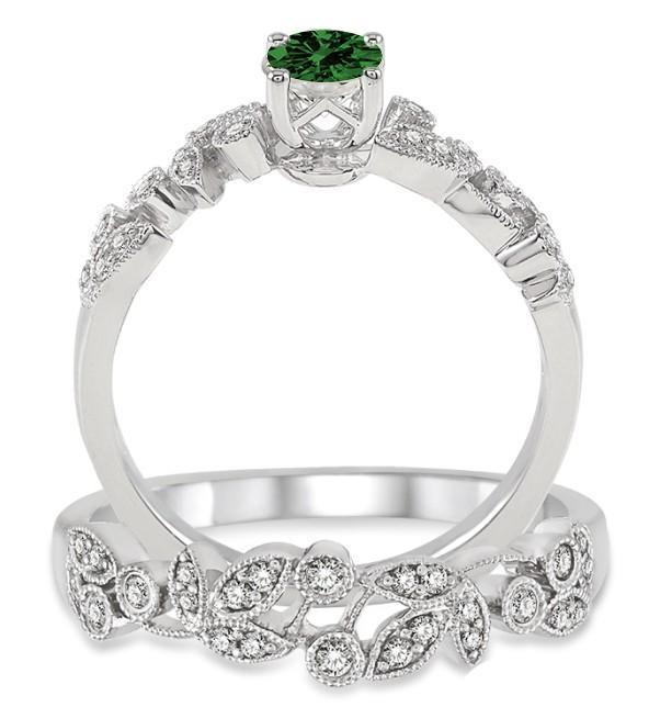 1.25 Carat Emerald & Diamond Antique Flower Bridal Set on White Gold