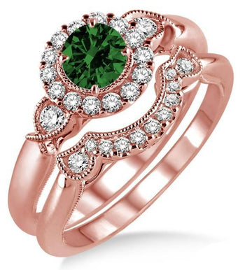 1.25 Carat Emerald & Diamond Antique Three Stone Flower Halo Bridal Set on Rose Gold