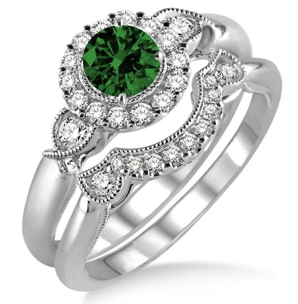 1.25 Carat Emerald & Diamond Antique Three Stone Flower Halo Bridal Set on 9k White Gold