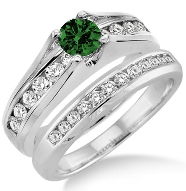 1.25 Carat Emerald & Diamond Bridal Set on 9k White Gold