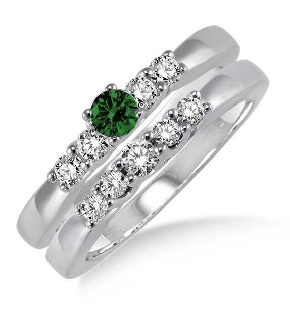 1.25 Carat Emerald & Diamond Three Stone Bridal Set on White Gold