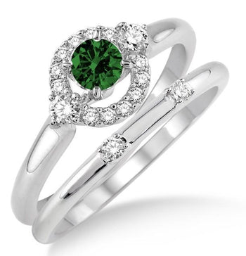 1.25 Carat Emerald & Diamond Elegant Flower Halo Bridal Set on White Gold