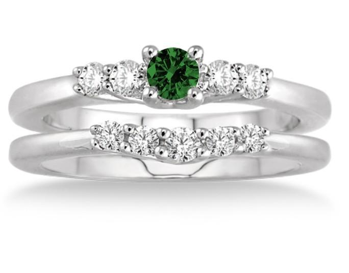 1.25 Carat Emerald & Diamond Inexpensive Bridal Set on 9k White Gold