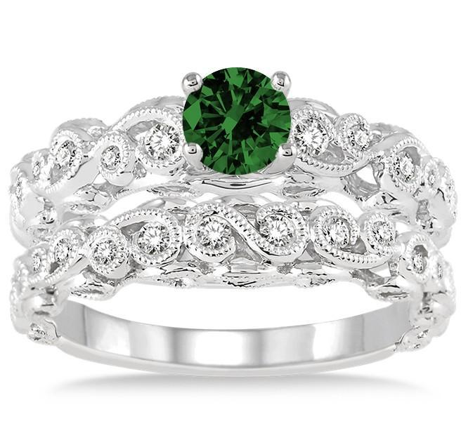 1.25 Carat Emerald & Diamond Infinity Antique Bridal set round cut diamond on White Gold