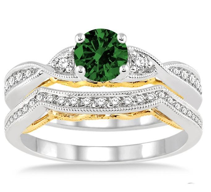 1.25 Carat Emerald & Diamond two tone bridal set round cut diamond on White Gold