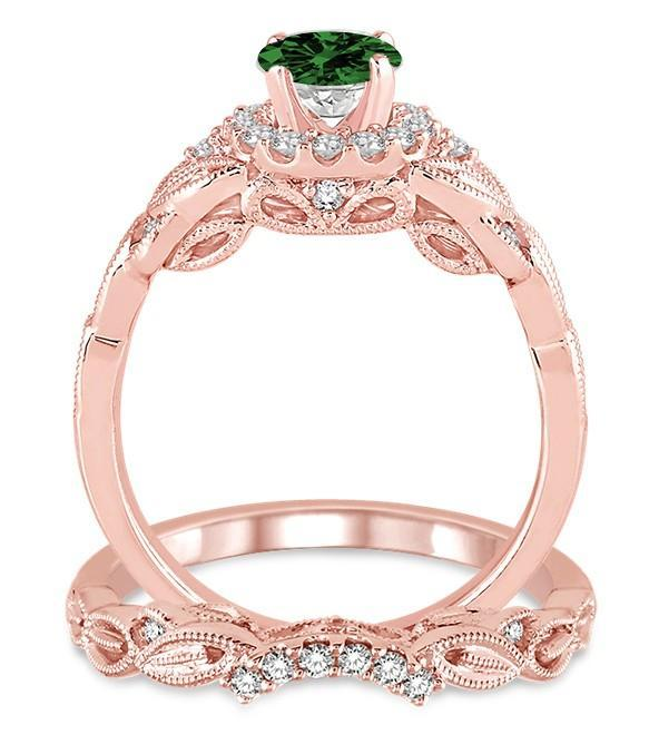 1.25 Carat Emerald & Diamond Vintage Floral Bridal Set Engagement Ring on Rose Gold