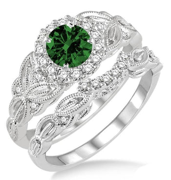 1.25 Carat Emerald & Diamond Vintage floral Bridal Set Engagement Ring on White Gold